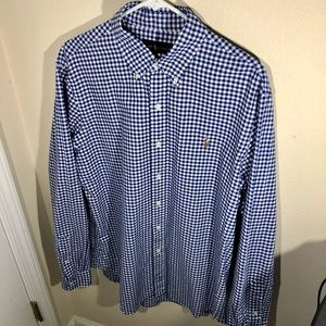 Polo by Ralph Lauren Gingham Shirt, Mens Large, Blue and White Button Down